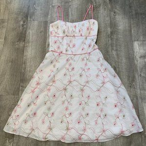 Taboo Lined Sundress-Pink Floral Embroidery